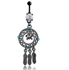 Fashion Dream Catcher Skull Dangle Navel RINGS Belly Button Bar Piercing Jewelry