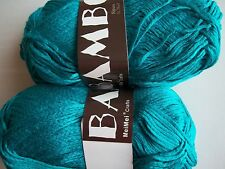 MeiMei Bamboo 100% bamboo yarn, Turquoise, lot of 2 (181 yds each)
