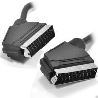 Black Round Scart Cable 21 Pins With Nickel Plated Ends 0.75m 75cm