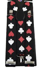 "Unisex Clip-on Braces Elastic ""Playing Card"" Y -Back Suspender 1 1/2"""