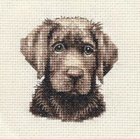 CHOCOLATE LABRADOR RETRIEVER dog, puppy ~  Full counted cross stitch kit
