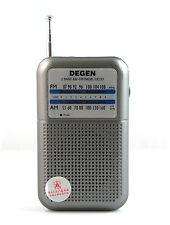 DEGEN DE333 FM AM Radio Receiver Mini Handle Portable Two Bands 3.5mm+ Battery