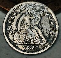 1857 O Seated Liberty Dime 10c High Grade Detail Good Date US Silver Coin CC5283