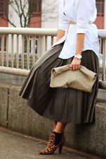 ZARA WOMAN BEAUTIFUL BROWN FAUX LEATHER PLEATED MIDI SKIRT S