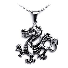 Tribal Biker Stainless Steel Dragon Pendant Necklace for Men Halloween Gifts