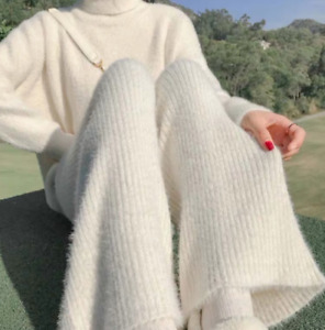 Women 100% Cashmere Knitted Wide-legs Pant Thick High Waist Loose Casual Trouser