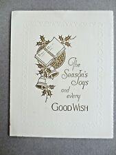 Vintage CHRISTMAS Card 1930s Gold Bells Mellers Westminster Bank House MALDON