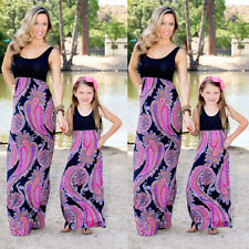 Summer Mother and Daughter Boho Long Maxi Dress Mommy&Me Matching Set Outfits