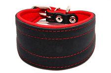 Glossy Black Handmade Greyhound Saluki Lurcher Whippet Leather Dog Puppy Collar