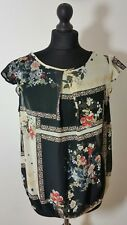 ATMOSPHERE Womens Blouse Sz 14 40 Shirt Black Floral Sheer Cap Sleeve Crew Neck