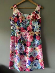REVIEW Pink Floral Dress Size 14  Formal Cocktail NWOT
