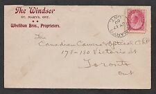 "1900 St. Mary's PTH, cds.  Hotel advertising cover. ""The Windsor"". 2c Numeral"