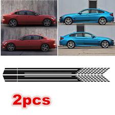 2X Car Racing Black Long Stripe Graphics Side Body Vinyl Decal Sticker Universal