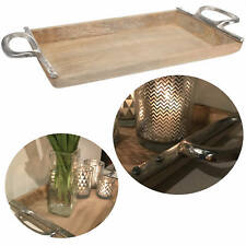 XL Mango Holz Serviertablett Alu Griff Holz-tablett Betttisch Betttablett Shabby