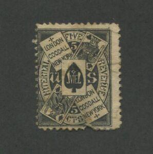 1871 United States Internal Revenue Private Die Playing Card Stamp #RU8