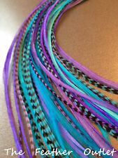 Lot 10 Whiting Grizzly Feathers Hair Extensions long skinny Real Purple Blue SHS