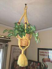 "Vintage Macrame Plant Hanger Holder Yellow Handmade 36"". Hippie"