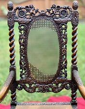Charles Antique Carved Wood Victorian Castle Hall Chair Jacobean Barley Twist