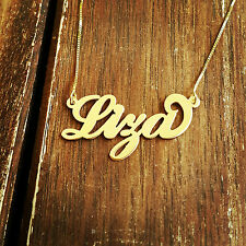 Gold Personalized Name Necklace Lisa Liza - 14K Solid Gold Any Name plate Liz