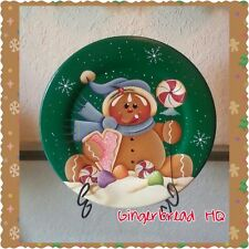 HP Hand Painted Wooden  Gingerbread Decorative Plate, Christmas Crafts, Ginger