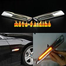 For BMW E60 E82 E87 E90 E91 LED Side Marker Light Turn Signal smoked Lens Chrome
