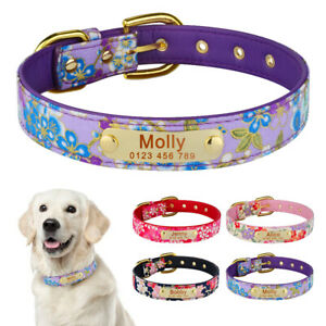 Adjustable Personalized Dog Collar Floral Leather Free Engraved ID Name Tag XS-L