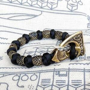 Viking bracelet made of paracord, Celtic knots and original beads. Nordic bangle