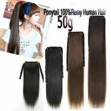 16''18''20'' Ribbon Ponytail One Hairpiece Clip In Real Human Hair Extension 50g