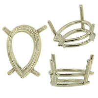 14K White Gold Pear Wire Basket Setting Mounting 4 Prong 0.20ct - 17.00ct USA