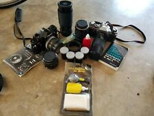 Vintage Canon Camera & Lens Bundle As pictured  AE-1 & A1 cameras 200mm
