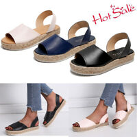Womens Open Toe Slip On Espadrille Sandal Ladies Summer Flat Platform Shoes