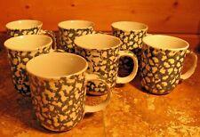 Lot 7 Tienshan Folk Craft MOOSE COUNTRY Green Sponge Coffee Mugs / Cups, 10 oz