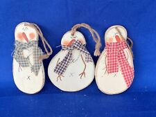 ANTIQUE PRIMITIVE Snowman Ornaments Gingham Fabric Scarf Doll SET of 3 ❤️sj17j