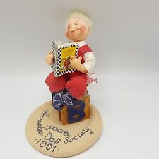 Annalee Dolls Logo Society 1991 Boy Child Reading Teacher Mother Goose Alphabet