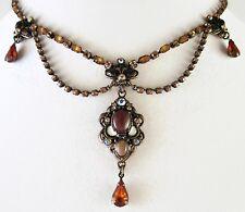 £40 Baroque Gold Brown White Flower Pendant Necklace Swarovski Elements Crystal