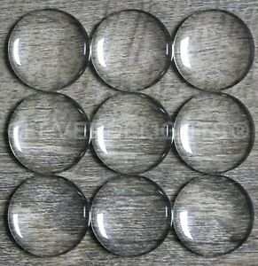 25 glass cabochons clear 25 mm semi-circular