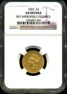 1855 $3 Gold Indian Princess Head AU Detail Cleaned NGC 3266067-004