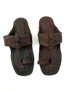 NWB Handmade 60s Jesus Buffalo Hippie flat sandals dark brown leather 7-7.5M