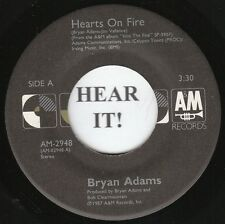 Bryan Adams 80s ROCK 45 (A&M 2948) Hearts on Fire/The Best was Yet to Come  VG+