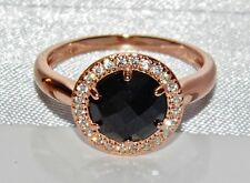 9ct Rose Gold on Silver Black Onyx & Simulated Diamond Ring - size L
