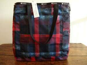 LESPORTSAC RED NAVY PLAID Colette Large TRAVEL Shopper TOTE BAG