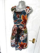 ❤ LAVAND Size 10 (M) Blue Orange Green Brown Boho Dress Ties at Back Cottagecore