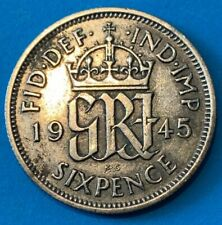 1945 Great Britain GB UK England Sixpence 0.5000 Silver Coin