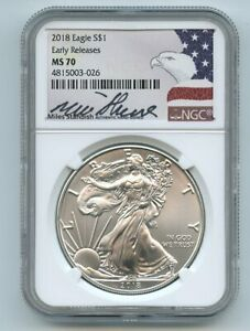 2018 $1 American Silver Eagle NGC MS70 ER Miles Standish Signature Eagle Label