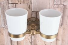 Antique Brass Wall Mounted Bathroom Toothbrush Holder with 2 Ceramic Cups wba224