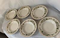 """Embassy USA Vitrified China Dogwood 6 Soup Bowls 8 1/8"""""""