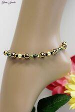 Glass Jewels Gold Fußkettchen Fußkette Perlen Hippie Ethno Länge 26 cm #K025