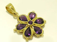 P38 Genuine 9ct SOLID Yellow Gold NATURAL Amethyst Flower Pendant Blossom Daisy