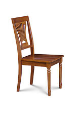 SET OF 6 DINING SIDE CHAIRS WITH WOOD SEAT IN  SADDLE  BROWN