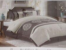 King 7 Pc. Comforter Gray White Shams Dust Ruffle Pillows Bedding Ensemble NEW!
